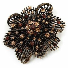 a64e9a1ed94 Vintage Asymmetrical Crystal Flower Brooch  Pendant (Bronze Tone) Avalaya.   29.70. Metal Finish  bronze. Style  vintage. Occasion  anniversary