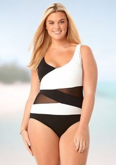 ef47295975 Anne Cole Signature Plus Size Mesh Over The Shoulder Spliced One Piece  Swimsuit Monokini Swimsuits