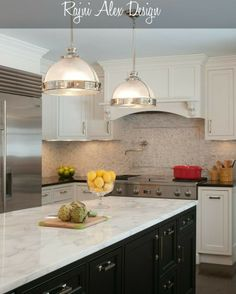 Clean kitchen design with drop lighting, black cabinets, granite countertops, and tile backsplash