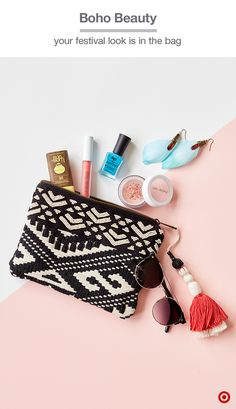 Festival season has arrived! Rock a boho-beauty look with a cute black-and-white knit clutch, and fill it with everything you'll need for touch-ups throughout the day: Sun Bum face sunscreen (you'll love the handy stick), along with W3LL People natural lip gloss and blush. The finishing touch? Flirty feather earrings to match your cool blue Defy & Inspire mani.