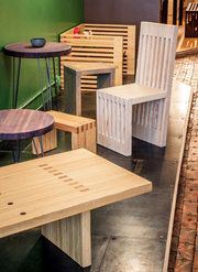 Reclaimed Wood Furniture: Strikes And Spare Wood. Made From Bowling Lanes!
