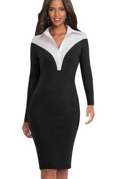 cd638bf2fa Black Turn-down Collar Bodycon Pencil Office Dress Black Midi Dress