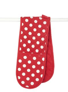Large Red Spot Double Oven Gloves