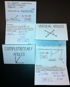 Angle Pair Relationships Foldable - great for interactive notebooks
