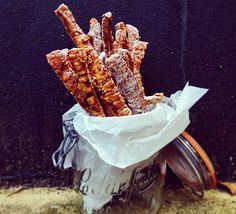 Spiced pork crackling straws. If you love crackling you'll love these salted and spiced crispy strips of pork skin, perfect as a party nibble or indulgent buffet snack