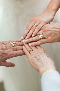 generations of wedding rings, wish my grandma could be here for my wedding day Wedding Bride, Wedding Engagement, Wedding Day, Engagement Rings, Seaside Wedding, Party Wedding, Gold Wedding, Elegant Wedding, Bride Groom