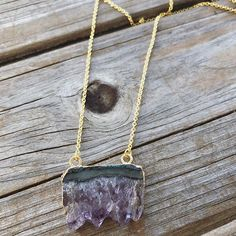 New Amethyst Slice Necklaces www.LunaSavita.com #amethyst #amethystjewelry #rawcrystals #crsytal #crystals #crystalsofig #etsy #etsyseller #etsyshop #etsyjewelry #jewelry #longnecklace #style #ootd #purplecrystals #purple #necklace #gold #goldnecklace #birthstone #luna #lunasavita #wear #handmadewithlove #amethystslice #picoftheday #shopsmall #smallbusiness #productshot #supporthandmade