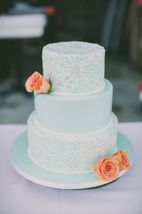 tiffany blue lace wedding cake with coral roses