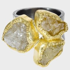 trdr693 | 18ky gold, sterling silver with patina, rough diamonds(18.70 ctw) three stone ring