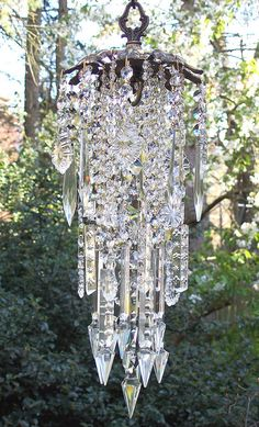 Exquisite Vintage Brass and Crystal Wind Chime- Reserved