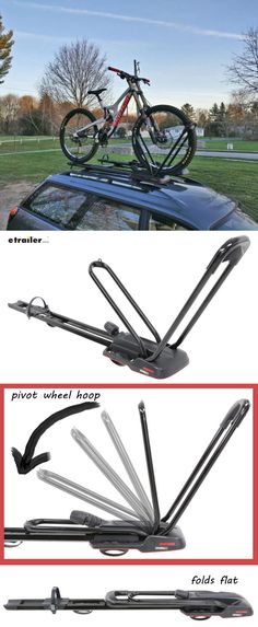 Wheel-mount carrier lets you transport 1 bike on your roof rack crossbars. No frame contact and no wheel removal required. Pivoting wheel hoops hold your bike by the front tire. Hoops fold down flat when not in use.