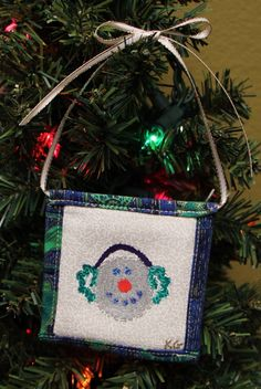 Snowman w. Ear Muffs Stamped Fabric Square Christmas Ornaments by KjgBoutique on Etsy