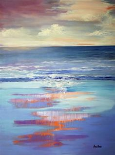 "Daily Paintworks - ""Impressionism Seascape Painting Nature's Gentle Rhythm by International Seascape Artist Arrachme"" - Original Fine Art for Sale - © Arrachme Art"