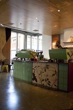 melbourne cafe, counter wrap, tiles, image