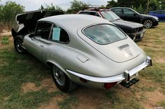 1972 Jaguar XKE V-12 - 2+2 Series 3 3-door coupe. As seen at the June 2016 Cars and Coffee show in Austin TX USA.