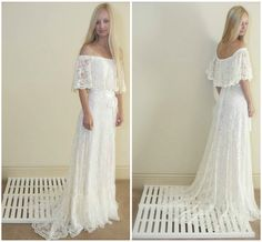 Vintage Style Wedding Dress Off The Shoulder by DaughtersOfSimone, $980.00