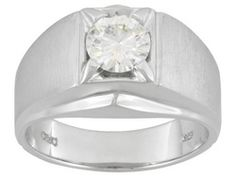 Moissanite Fire(Tm) 1.00ct Diamond Equivalent Weight Round, Platineve(Tm) Gents Solitaire Ring