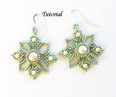 PDF for Venetian Lace beadwomen earrings beading pattern tutorial - beaded seed bead jewelry - beadweaving. $5.50, via Etsy.