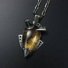 Steampunk pendant oxidized silver pendant black by KAZNESQ on Etsy