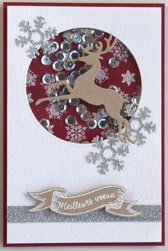 Carte shaker box de Noël Plus Scrapbook Christmas Cards, Christmas Cards To Make, Xmas Cards, Diy Cards, Handmade Christmas, Christmas Crafts, Xmas Theme, Karten Diy, Shaker Cards