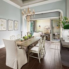 Modern dining room colors dining room paint colors best dining room paint colors paint ideas for dining rooms dining room modern farmhouse dining room Gray Blue Dining Room, Dining Room Paint Colors, Dining Room Walls, Paint Colors For Home, Dining Room Design, Colorful Dining Rooms, Dining Room With Buffet, Dining Area, Design Room