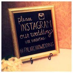 DIY chalkboard hashtag wedding