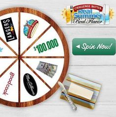Challenge Butter Summer Spin The Wheel Instant Win Game - Couponshopaholic Challenge Butter, Instant Win Games, Sunny Days, Spinning, Craft Projects, Challenges, Cash Gifts, Fun, Crafts