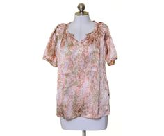 Talbots Pink Artsy Satin Finish Pin-tucked neck Short Sleeve Blouse Petites S #Talbots #Blouse #Casual