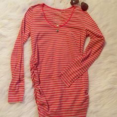 Maternity ⭐️ long sleeve orange stripe shirt Orange and tan soft material Tops Tees - Long Sleeve