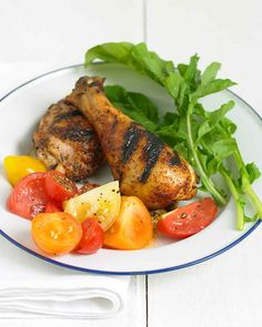 After applying the rub, you can either grill chicken immediately or let it sit and develop more flavor. Serve with Mixed Tomato Salad if desired.