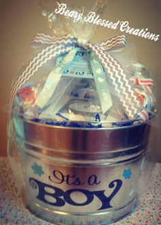 baby boy gift baby shower gift baby gift basket bucket galvanized