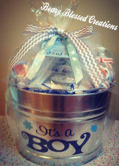 Baby Boy Gift , Baby Shower Gift, Baby Gift Basket, Personalized Bucket, Galvanized Baby Bucket