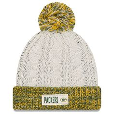 1f4661e5a60 Women s Green Bay Packers New Era Cream Rugged Tag Cuffed Knit Hat with  Pom.