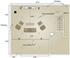 home theater room floor plans | ... take a look at a floor plan for a typical basement home theater setup