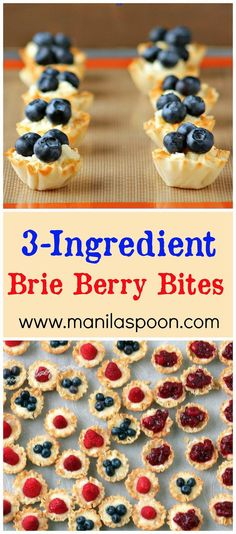 Brie Berry Bites: Only to make these delectable nibbles! Great on any holiday table. Appetizer Dips, Appetizers For Party, Appetizer Recipes, Fruit Appetizers, Forth Of July Appetizers, Appetizers Table, Thanksgiving Appetizers, Tapas, Phyllo Cups