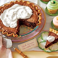 Chocolate Truffle Pie with Amaretto Cream (Dad's Famous Chocolate Pie) | Southern Living March 2016