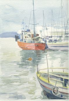 Boats, Acre, sea, fishing vessel, water color