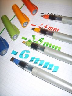 Pilot PARALLEL PEN  1.5mm, 2.4mm, 3.8mm & 6mm - calligraphy pen, amazing, really good and inexpensive.