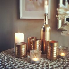 gold recycled + re-purposed cans {via BeSoStyle}