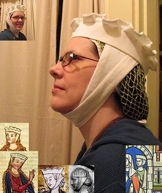 """Here's a further attempt at 1275-1300 or so headwear to wear with medieval garb.  (Sorry, only the headwear is medieval in this pic, though.) The hairnet is the one I made a couple of weeks ago. The hat is a sort of """"pie crust"""" hat like the ones in the Manesse Codex. It is made of linen. The linen barbette (chin band) is a new attempt, and if you look at the period pictures here you see that many of them have a line going up the side of the head, sort of angled in the middle of the…"""