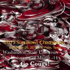 #SunBowl#WSU#Cougs - Great unique item to commemorate the 2015 Sun Bowl Champions - The Washington State University Cougars. This would look great framed in your office or den.