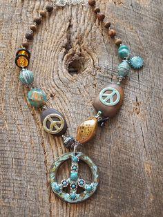 rustic peace sign boho necklace - for Izzy @Amanda Lorentz