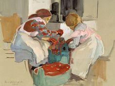 Eero Järnefeltin taulussa vuodelta 1913 kangasta värjäävät ehkä tyttäret Leena ja Sara. Kuva on rajattu.