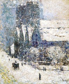 Childe Hassam  |  Calvary Church in the snow, 1893