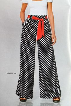 If you wanted a way to stand out this would do it. Definitely with some red heels, a red ring and red earrings to top it off. A nice polka headscarf too with hair up! Fashion Pants, Hijab Fashion, Fashion Outfits, Womens Fashion, Casual Chic, Casual Wear, Casual Outfits, Sewing Pants, Pants Pattern