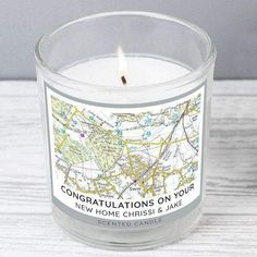 A beautiful, fragrant candle, this Personalised Present Day Map Scented Jar Candle is ideal for making any home smell like heaven!Perfect giftfor Birthdays, New Home, Weddings, Anniversaries.The words 'SCENTED CANDLE' are fixed. You can then personalise this scented candle in a jar with a postcode and 2 lines of text
