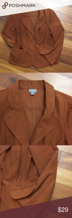 """🍁🍁J. Jill Size 12 Cognac Brushed Cotton Jacket New with no defects! Perfect fall jacket🍁. Tagged Size 12, Verified Measurements; Bust 40"""" Length 25"""". Thanks for Looking💕 J. Jill Jackets & Coats Blazers"""