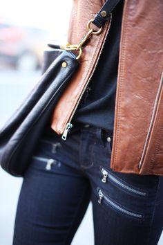 PAIGE Denim Edgemont - Tan Leather Jacket, Black Purse, Dark Blue Skinnies w/ Zipper Detail