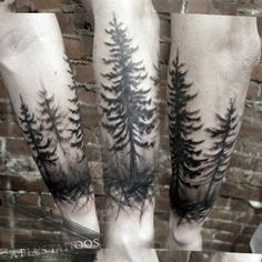 Forest Silhouette Tattoo Forest treeline silhouette