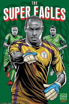 Nigeria Poster (FIFA World Cup 2014 - Brazil) by Cristiano Siqueira Cristiano Ronaldo, Brazil World Cup, World Cup 2014, World Cup Teams, Fifa World Cup, Lionel Messi, World Cup Countries, Bósnia E Herzegovina, Fifa 14
